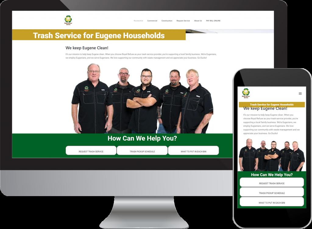 RoyalRefuse.com Desktop and Mobile Web Design Mockups