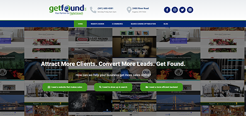 Screenshot of the Get Found homepage