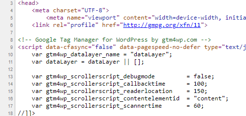 screenshot of website source code